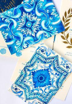 Santorini - Custom Watercolour, Mediterranean themed Wedding invitations, with matching envelope