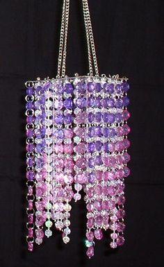 Pink diamond cut spiral beaded hanging chandelier alitas de pollo hand beaded chandelier purple lavender 20 inches long aloadofball Choice Image