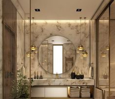 25 Elegant Bathroom Lighting That Enhance Your Bathroom& Elegant Appeal ---------------------------------------------------------------Decorative lighting ideas to beautify the minimalist bathroom with lamps abov Inspire Me Home Decor, Bad Inspiration, Bathroom Inspiration, Bathroom Interior Design, Marble Interior, Restroom Design, Gold Interior, Beautiful Bathrooms, Small Bathroom
