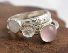 Simplemente Rosey apiladores - plata y anillos de apilamiento de piedra - por encargo - anillos de plata de apilamiento
