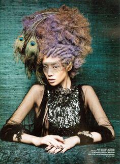"Vogue Korea August 2012 Issue Editorial: ""Bird Fantasy"" Photographer: Koo Bon Chang Stylist: Seo Young Hi Hair: Kim Jung Han Makeup: Lee Suk Kyung Models: Lee Hyun Yi, Stefani Lee"