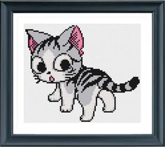 Cat 62240 Cross Stitch, Animal Cross Stitch, Cross Stitch Pattern, Simple Cross Stitch, Modern Cross Stitch, Cute Cross Stitch by AprilBeeShop on Etsy