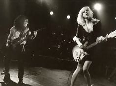 Picture of Hole — Jill Emery and Courtney Love onstage, 1991.