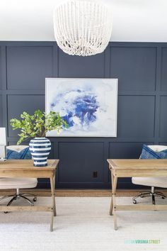 Home Office Design Board & Plans / Gorgeous office with navy blue board and batten, beaded chandelier, and oak desks. Best Blue Paint Colors, Paint Colors For Home, House Colors, Furniture Paint Colors, Best Bedroom Paint Colors, Color Blue, Furniture Design, Office Wall Colors, Accent Wall Colors