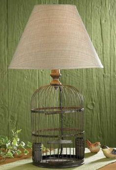 The Country Porch features the Birdcage Lamp from Park Designs. Birdcage Lamp, Vintage Birdcage, Birdcage Light, Vintage Clocks, I Love Lamp, Parking Design, Bird Cages, Lampshades, Home Lighting