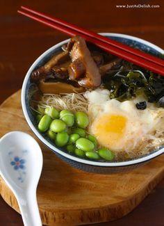 Edamame Mushroom Miso Noodle Soup | Just as Delish
