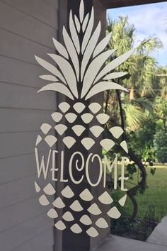 WELCOME pineapple door decal in etched glass by NamelyCreative