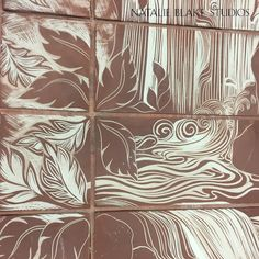Detail of carved stair risers ~ beautiful waterfall ~ handmade porcelain tiles for a custom renovation!