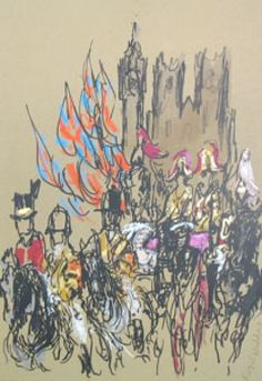Royal Wedding Lithograph by Feliks Topolski Etchings, Moose Art, Sketches, Paintings, Ink, Street, Drawings, Illustration, Artist