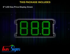 8 Inch 88.8 LED Gas Price Display Green with housing dimension H290mm x W492mm x D55mmand format 88.8 comes with complete set of Control Box, Power Cable, Signal Cable & 2 RF Remote Controls (Free remote controls).