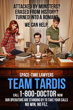Team TARDIS featuring The Doctor, Amy Pond, and Rory Williams