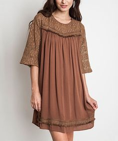 Another great find on #zulily! Mocha Lace Trim Tunic Dress #zulilyfinds