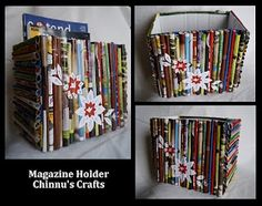 Old and colorful magazine sheets rolled to cover a Carton box.