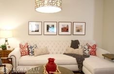 Elegantly Ethnic: Creme tufted sectional with printed accent pillows.