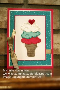 Sprinkles of Life Ice Cream Cone - www.xostampingstudio.blogspot.com - Michelle Harrington - Stampin' Up! - SU! - Tree Builder Punch - A Cherry on Top DSP