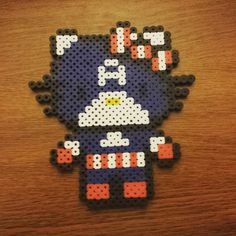 Captain America Hello Kitty perler beads by rocket_town_crafts