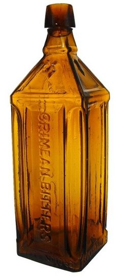 Romaine's Crimean Patented 1863, Square, Tobacco, 10 inch. A Romaine's Crimean Bitters bottle in medium tobacco color