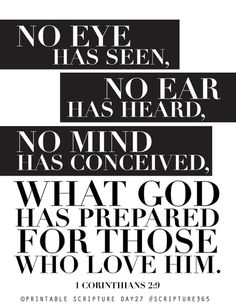 """1 Corinthians 2:9.  """"What no eye has seen,     what no ear has heard, and what no human mind has in mind""""—     the things God has prepared for those who love him—"""