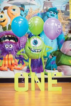 monsters inc first birthday 'ONE' birthday party sign and backdrop