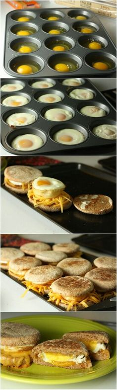 Brilliant idea! Eggs cooked in a muffin pan in the oven. 350 degrees for about 10-15 minutes. Toast your English muffin, add your cheese and cooked egg (slice of ham) and place back in oven until cheese melts. Enjoy!