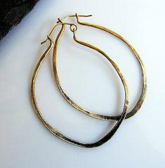 Gold Boho Hoop Earrings Sterling Silver Hammered Hoop Earrings Large Hoop Earring Ombre Earrings Boho Earring Black Hoop Silver Hoop Earring