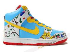 011a9f9a702d Comfort Alice N Wunderland YoaKustoms Colorful White Blue High Top Nike Dunk  Signed online