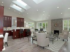 Fireplace, rug, chairs