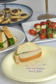 Whether your wedding reception dinner is formal or fun, disposable plastic plates personalized with the bride and groom's name and wedding date will add a unique accent to your buffet line, appetizer table, or picnic style wedding reception. These plates can be ordered at http://myweddingreceptionideas.com/personalized_colored_plastic_dinner_party_plates.asp