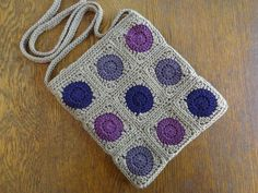 Crochet Crossbody Bag Purse Granny Square by kathyscrochetcloset Crochet Furniture, Granny Square Bag, Crocheted Bags, Crochet Handbags, Pouches, Shopping Bag, Purses And Bags, Baskets, Crossbody Bag