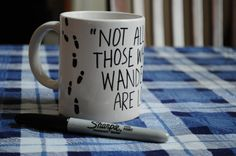 Sharpie decorated mug (only do footprints and do harry potter names!)