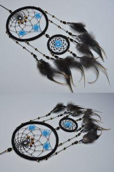 Black Dreamcatcher with Blue Stars Dream Catcher for