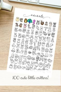 100 Animal Icons Hand-drawn | Etsy Savings Chart, Goal Charts, Little Critter, Letter Size, Marketing And Advertising, Hand Drawn, Coloring Pages, The 100, How To Draw Hands