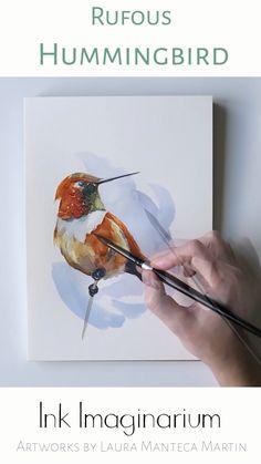 Watercolor Paintings For Beginners, Watercolor Art Lessons, Watercolor Video, Watercolor Bird, Watercolor Hummingbird, Art Painting Gallery, Painting & Drawing, Guache, Bird Art