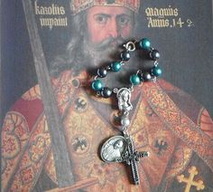 Teal and black Pope Francis Catholic rosary (single decade) by #TripleTwisting on Etsy