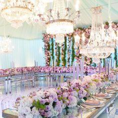 Lavender and pink wedding reception decor