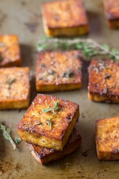 This flavor-packed baked tofu is soaked in a marinade of zesty lemon juice, zippy garlic, and savory herbs, then baked to perfection. It's the perfect filling for a delicious vegan sandwich or part of… Vegan Foods, Vegan Dishes, Tofu Dishes, Vegetarian Recipes, Healthy Recipes, Vegetarian Salad, Grilled Tofu Recipes, Firm Tofu Recipes, Vegetarian Protein Meals