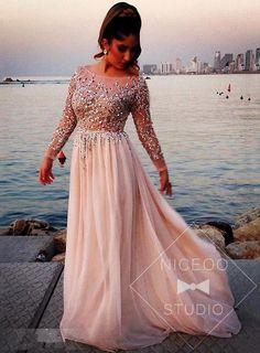 blush A line princess Scoop Neck Floor Length chiffon evening dresses with #promdress #formaldress #eveningdress #prom #dress Beaded   http://niceoo.com/products/16477344-blush-a-line-princess-scoop-neck-floor-length-chiffon-evening-dresses-with-b