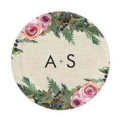 Antlers & coral pink flowers rustic wedding paper plate | Wedding ...