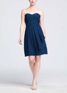 Amazon.com: David's Bridal Bridesmaid Dresses Short Crinkle Chiffon Dress with Front...: Clothing