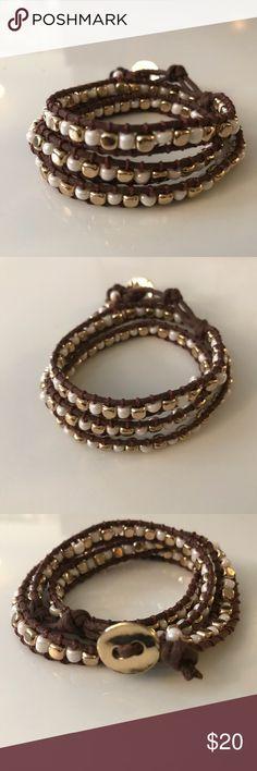 Memory Wire Bracelet 5 Wrap Bracelet Gold Cross Bracelet Mother of Pearl Nuggets Gold Brown Seed Bead Bracelet 5 Wrap Memory Wire Bracelet