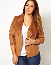 New Look Inspire Drape Front Leather Look Jacket