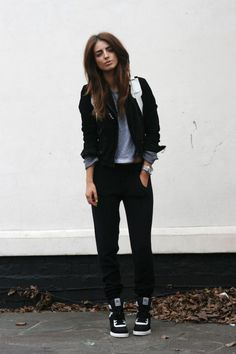 blazer, grey tee, slouchy black pants, black and white high tops