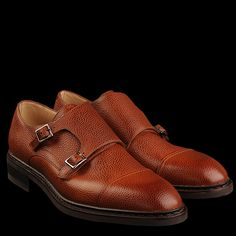 Top-notch French craftmanship. Grained chestnut leather, twin buckle monks by Paraboot - style is Vigney.