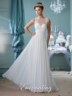 mon cheri bridals 116127 - Sleeveless chiffon A-line gown, illusion jewel neckline over a hand-beaded lace appliqué sweetheart bodice, illusion back with covered buttons and matching appliqués, gathered layered skirt with chapel length train.