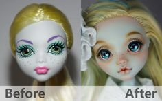 """""""Love"""" Monster High Repaint Custom OOAK Love ●Name: Love ●Original: Lagoona Blue ●Makeup: Face is painted with acrylic colors and pastel stick. Custom Monster High Dolls, Monster High Repaint, Monster Dolls, Custom Dolls, Ooak Dolls, Art Dolls, Bjd, Love Monster, Doll Painting"""