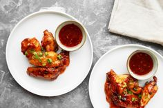 Baked chicken wings tossed in a tangy sauce made with sweet thai chili, siracha, ginger, and soy sauce. From Life's Ambrosia. Marinated Chicken Wings, Baked Chicken Wings, Chicken Wing Recipes, Chicken Chili, Chicken Meals, Ritz Chicken, Amish Chicken, Bourbon Chicken, Pepper Chicken