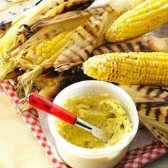 Corn on the Cob with Lemon-Pepper Butter Recipe from Taste of Home -Roasting fresh-picked corn is as old as the Ozark hills where I was raised. My Grandpa Mitchell always salted and peppered his butter on the edge of his plate before spreading it on his corn, and I did the same as a kid. Today, I continue the tradition by serving lemon-pepper butter with roasted corn—it's a favorite! Allene Bary-Cooper, Wichita Falls, Texas