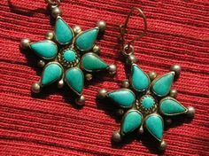 Southwest Sterling Silver Petit Point Turquoise Flower / Star Dangle Earrings -- Route 66