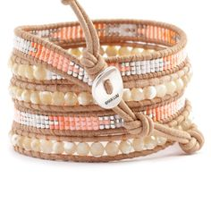 Natural Mother of Pearl and Bead Wrap Bracelet on Beige Leather - Chan Luu