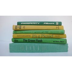 Lemon Lime Vintage Books Book Decor Instant Library/ Book Bundle Photo... ($34) ❤ liked on Polyvore featuring home, home decor and colorful home decor